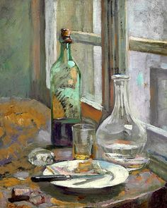 Edouard Vuillard / Nature morte avec bouteille et carafe