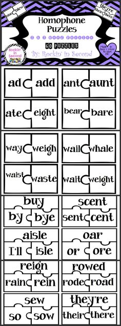 Homophone Puzzles/Task Cards  This set includes 60 homophone puzzle/task cards. You can use these as task cards and use them for teaching homophones and cut and create puzzles for a matching game. Print 2 sets and have both!  Use them all or make it differentiated!   Great for small group review or for a center!  Follow me on TPT for more fun and exciting products and FREEBIES!
