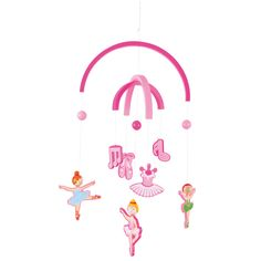 Tiny dancers will adore this pretty pink mobile, featuring dancing ballerinas and a range of accessories. Perfect for the nursery or playroom, it is bound to delight at bedtime and captivate youngsters for hours.