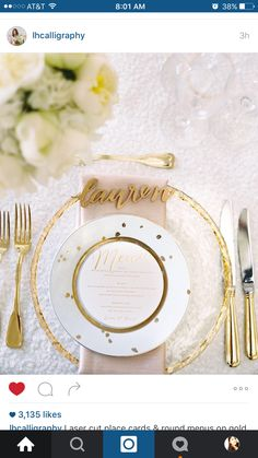 Round paper menu in each plate and laser cut names