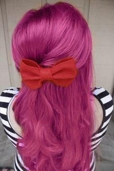 Pretty Pink Hair and Red Bow. ibleedpink