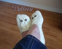pattern from TheHookHound on etsy - owl slippers