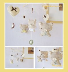 Baby Mobile - Neutral Teddy Bear Mobile - Cute Baby Bear Mod Dots Mobile - Heart Soft Color theme (You can pick your colors) on Etsy, $75.00