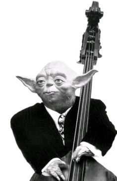 Yoda with a double bass