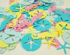 Nautical Confetti Pastel Seahorse Confetti by LilpawsPaperArt