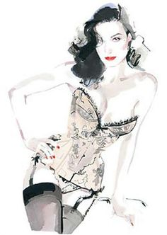 #Fashion illustration : the #sexy #pinup Dita Von Teese by David Downton. #lingerie