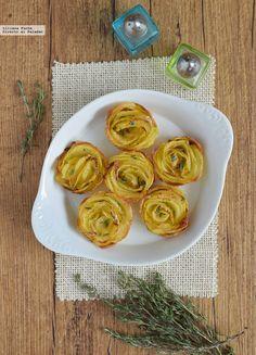Rosas de patata al horno. Receta de cocina fácil, sencilla y deliciosa