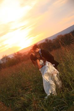 Bride and Groom Photo At Sundown