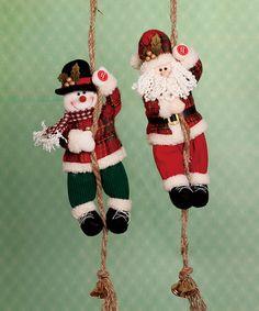Another great find on #zulily! Climbing Santa & Snowman Figurine Set #zulilyfinds