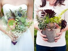 her bouquet was made of plants that can be potted and keep growing!!! LOVE