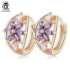 ORSA JEWELS Luxury Gold Flower Small Stud Earrings Zircon Stone Women Birthday Gift
