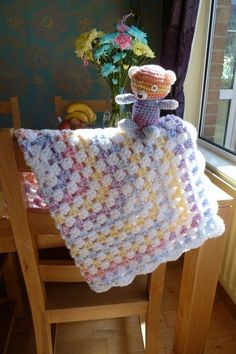Multicoloured and white crochet baby blanket with by CraftyRedman. May have been worked with 2 strands of white yarn then dropping one strand of white and adding blue next, etc. Plaid Au Crochet, Baby Afghan Crochet, Baby Afghans, Afghan Crochet Patterns, Crochet Baby Hats, Knit Or Crochet, Crochet Crafts, Baby Knitting, Crochet Projects