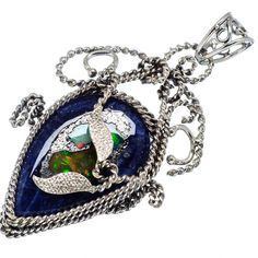 """Rough Mexican Fire Opal Sodalite Composite 925 Sterling Silver Pendant 2 1/4"""" PD567036"""
