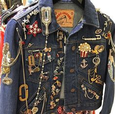 Embellished jean jacket  Pins, jewelry & patches