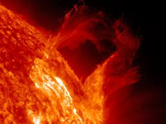Graceful Eruption  A solar prominence began to bow out and the broke apart in a graceful, floating style in a little less than four hours (Mar. 16, 2013). The sequence was captured in extreme ultraviolet light. A large cloud of the particles appeared to hover further out above the surface before it faded away. Credit: Solar Dynamics Observatory/NASA