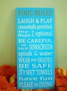 Pool Rules by Susan Peterson from Signs of Elegance on Artfire