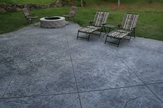 Seamless Stamped Concrete patio - natural with grey antiquing release agent. Firepit and patio by The Concrete Artisans, Inc by The Concrete Artisans, Inc., via Flickr