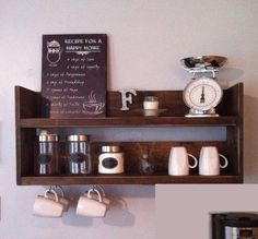 Rustic kitchen shelf coffee shelf coffee bar shelf by TheWoodenOwl Reclaimed Wood Shelves, Rustic Shelves, Wooden Shelves, Wood Shelf, Bar Shelves, Kitchen Shelves, Kitchen Storage, Wooden Kitchen, Rustic Kitchen