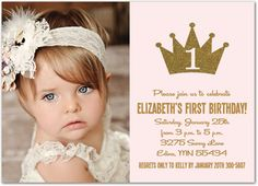 36 best first birthday invitations girl images on pinterest first gold glitter princess crown photo birthday invitations girl royal first birthday invitations princess first birthday filmwisefo