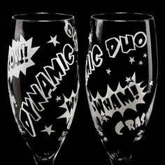 These are great ideas for the bride & groom, bridal party or bridesmaid/usher gifts!  Comic Book Superhero Wedding Champagne Flutes, Personalized Toast Glasses on Etsy, $64.00
