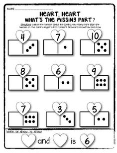 (sample page) Valentine Domino Math Worksheets! Composing and Decomposing numbers. $