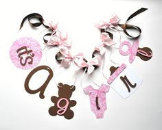 Pink and brown baby shower decorations it's a by ParkersPrints