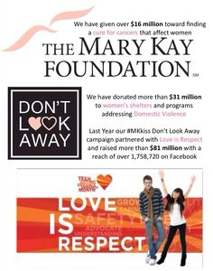 The Mary Kay Foundation has helped the war of domestic violence against women and children and will continue to do so...thanks to YOU, my customer!! #dontlookaway and #loveisrespect programs are helping so many people in the world! I <3 Mary Kay www.marykay.com/nedwards119