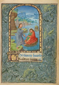 Title:  Christ Appearing to Saint James the Greater Artist/Maker(s):  Lieven van Lathem (Flemish, about 1430 - 1493, active 1454 - 1493) Culture:  Flemish Place(s):  Ghent (written) Belgium Antwerp (illuminated) Belgium (Place created) Date:  1469 Medium:  Tempera colors, gold leaf, gold paint, silver paint, and ink on parchment