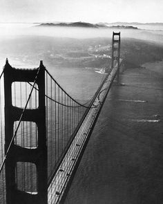 A view of the Golden Gate Bridge taken from above in a helicopter, 1951. (Margaret Bourke-White—The LIFE Picture Collection/Getty Images) #SanFrancisco #1950s #LIFEmagazine