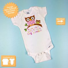 Guess Who's Going To Be A Big Cousin Owl Onesie outfit Announcement 10192012a