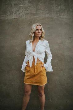 Pumpkin Spice Denim Skirt | CocoRose Boutique