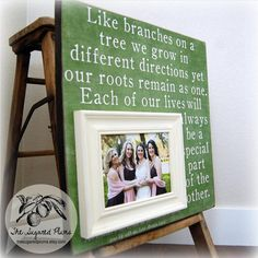 Sister Gift For Sister Custom Wedding Gift Personalized Picture Frame 16x16 BRANCHES ON a TREE Bridesmaid Maid of Honor Sorority Best Friend. $75.00, via Etsy.