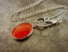 Oval  Carnelian  Necklace birthstone necklace Gemstone by anakim, $78.00