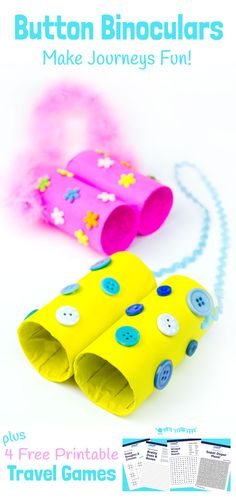 BUTTON BINOCULARS CRAFT & TRAVEL GAMES The holidays are never far away and we all start thinking about days out and visiting family and friends. Adorable Button Binoculars and free printable Travel Games are a great way to keep the kids entertained on lo Easy Crafts For Kids, Craft Activities For Kids, Toddler Crafts, Preschool Crafts, Toddler Activities, Projects For Kids, Diy For Kids, Fun Crafts, Button Crafts For Kids