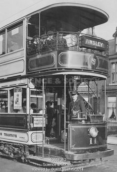 """The Tinsley Tram. A circa 1915 Sheffield open balconied tramcar with crew. Sheffield always had smart livery. Sheffield Pubs, Sheffield Home, Sheffield England, Tramway, The Blitz, Light Rail, Vintage Photographs, Vintage Photos, Historical Pictures"