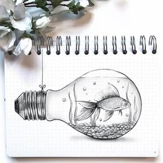 If you can draw a fish inside a light bulb, then always draw. If you can draw a fish inside a light bulb, then always draw a fish inside a light bulb… (such a random drawing). I've been feeling kinda… meh this we. Inspiration Art, Art Inspo, Pencil Art, Pencil Drawings, Drawing Sketches, Cool Drawings, Drawings Of Fish, Random Drawings, Drawing Art