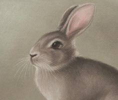 Rabbit Pastel Drawing Print 8 by 10 by SandyLandStudio on Etsy