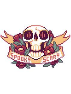 'Spooky Scary Pixel Skull' Sticker by etall Cross Stitching, Cross Stitch Embroidery, Cross Stitch Patterns, Pixel Art Grid, Pixel Pattern, Minecraft Pixel Art, Spooky Scary, Perler Bead Art, Perler Patterns