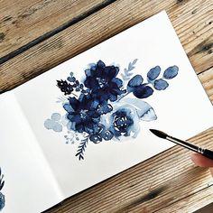 Indigo watercolor floral painting @kateschuette