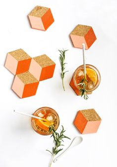 DIY Geometric Coasters | The Lovely Drawer (FOR) Sugar & Cloth (with template)