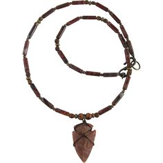 Jasper Arrowhead Necklace with Brecciated Jasper Tube Beads and Bone Bead Accents