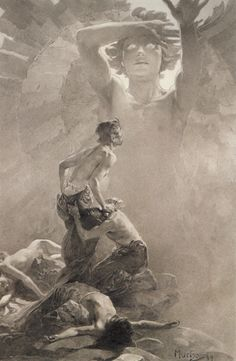 Alphonse Mucha: the sixth drawing from the Le Pater series.