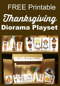 LOVE this FREE Thanksgiving Printable Diorama Playset - includes MULTICultural characters too which is perfect for my classroom! Great preschool activity for acting out story telling and book learning.
