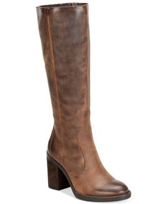 """Distressed suede and a chunky heel give the Malika tall boots by Born rugged lift. 