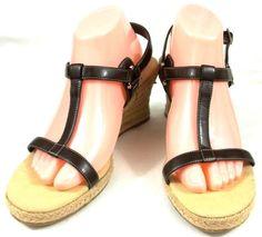 Chadwicks Shoes Womens 10 M Black Synthetic Open Toe T-Strap Espadrilles Heels #Chadwicks #Espadrilles