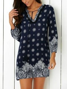 Spring & Summer 2017 fashion. Tunic dress. Navy & white print - boho style. Ask your Stitch FIx Stylist for this today. Perfect for beach vacation - resort fashion #sponsored #stitchfix