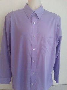 CROFT & BARROW Men's Dress Shirt Purple Solid 16 1/2 32/33 Button Cotton Standar #CroftBarrow #ebay #CroftBarrow #DressShirt