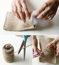 DIY Burlap Bag Ring Pillow - we can make this so easily, with a simple decoration on it.  Maybe a pinned bicycle shape or mushroom shape?