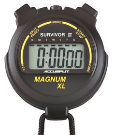 ACCUSPLIT Survivor III S3MAGXLBK Stopwatch with Clock and Extra-Large Display. 24-hour timing range, cumulative-split stopwatch. Includes time of day, day of week, date, and alarm features. Uses Watch Company Operating System (WOS) 2.5. 5 Year Battery Life and Water Resistant to 30 meters. 5 Year DUAL No Proof and Proof of Purchase Limited Manufacturer Warranty.