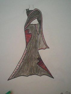 Hand Drawn fashion sketch of long formal gray dress